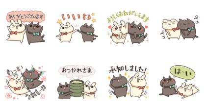 [LINE無料スタンプ] うさぎのしろとねこのくろ ふりー! (2)