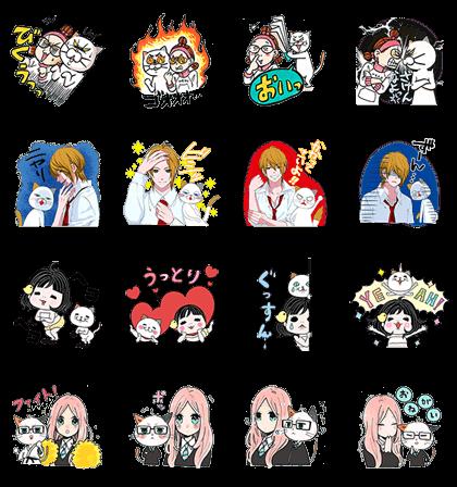 LINE無料スタンプ   ヨシ子×マーガレット♪夢のコラボVer. (2)