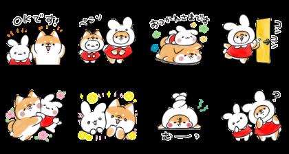 LINE無料スタンプ   ミミちゃん×ほんわかしばいぬ (2)