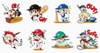 LINE無料スタンプ   女子プロ野球~夢、実現!~ (2)